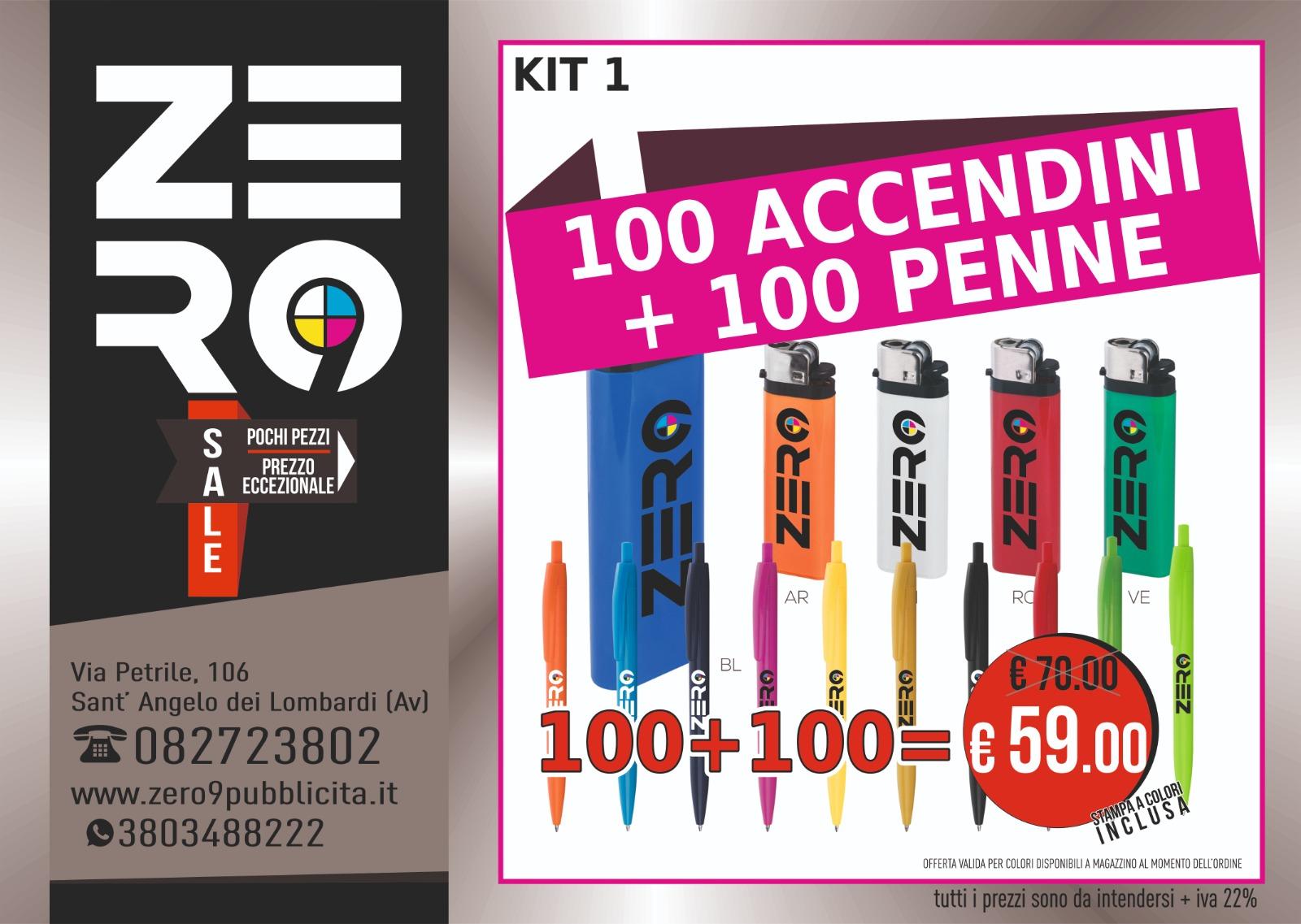 100 Accendini + 100 Penne